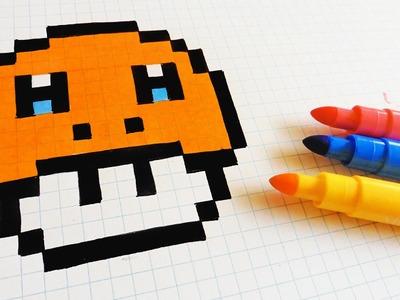 Handmade Pixel Art - How To Draw Charmander Mushroom #pixelart