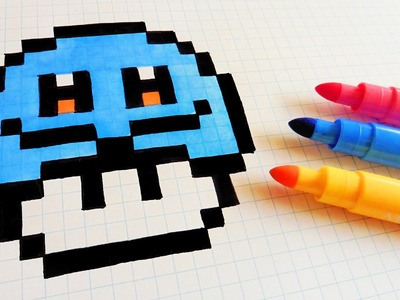 Handmade Pixel Art - How To Draw Squirtle Mushroom #pixelart