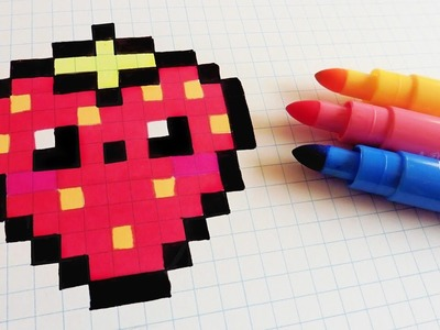 Handmade Pixel Art - How To Draw Kawaii Strawberry #pixelart
