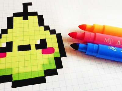 Handmade Pixel Art - How To Draw Kawaii Pear #pixelart