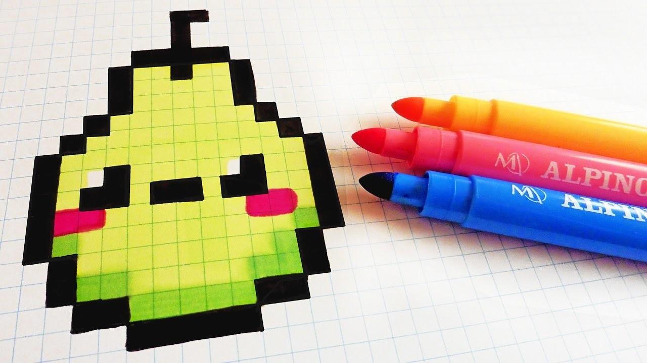 Handmade Pixel Art - How To Draw Kawaii Pear #pixelart