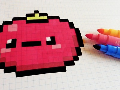 Handmade Pixel Art - How To Draw Kawaii Tomatoe #pixelart