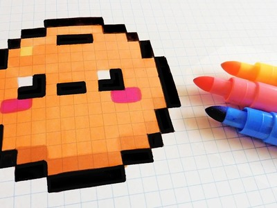 Handmade Pixel Art - How To Draw Kawaii Orange #pixelart