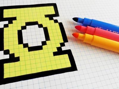 Handmade Pixel Art - How To Draw Green Lantern Logo #pixelart