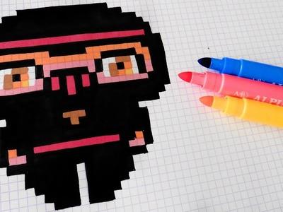 Handmade Pixel Art - How To Draw Kawaii Ninja #pixelart