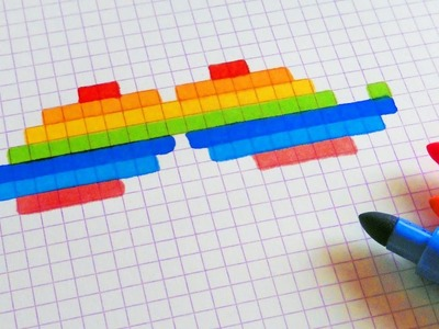 Handmade Pixel Art - How To Draw Rainbow Mustache #pixelart