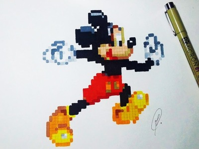 Mickey Mouse Pixel Art - Speed Drawing