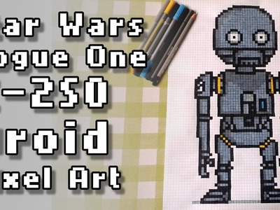 Star Wars Rogue One K-2SO Droid Pixel Art Speed Drawing
