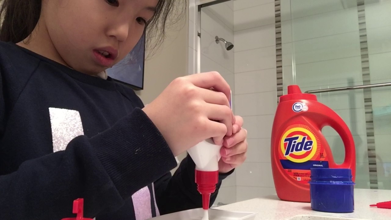 How to make slime with only 2 simple ingredients (detergent (tide) and glue)!!!!! Very easy