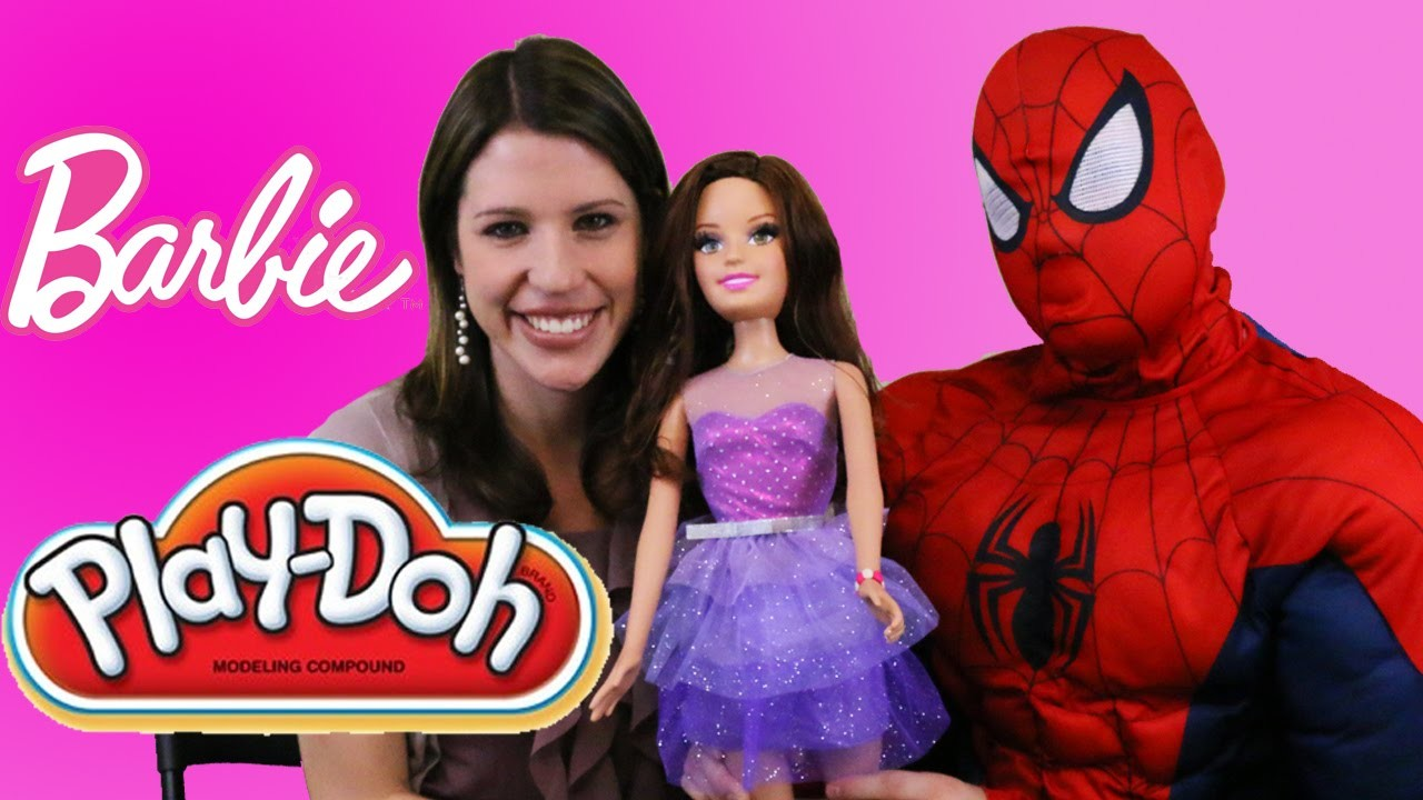Barbie PLAY DOH Video Doll Bracelets Challenge DisneyCarToys & Spiderman Competition My Size Barbie