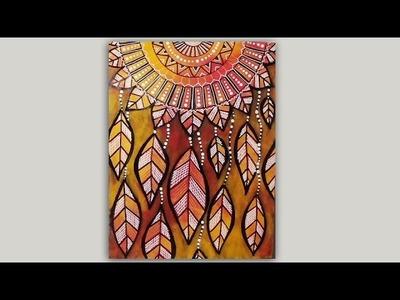 Dreamcatcher Mandala Autumn Leaves Mixed Media Doodle #LoveAutumnArt