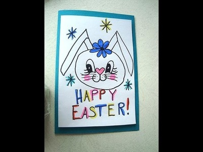 EASTER BUNNY GIRL, Children's Drawing, Crafts for Kids, Child art, Easter card
