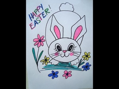 How to Draw, Easter BUNNY IN the FLOWERS, cards, signs, window decoration
