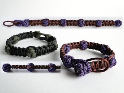 How to Make a Shamballa Style Paracord Bracelet.Two Sizes Version.Diamond Knot and Loop