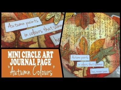 Mini Circle Art Journal Page - Autumn Colours