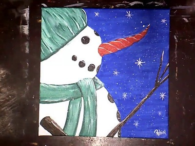 Winter Snowman Easy Acrylic Painting Free lesson