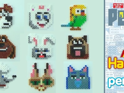 All the characters of The secret life of pets   HAMA BEADS Perler   Pixel art - Speed