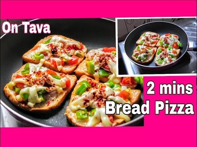 Bread Pizza On Tava. pan | Easy & Quick 2 Minute Bread Pizza Recipe | Hostel inspired - 1