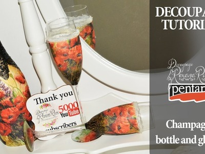 Decoupage on bottle and glases   thank you 5000 subscribers decoupage tutorial