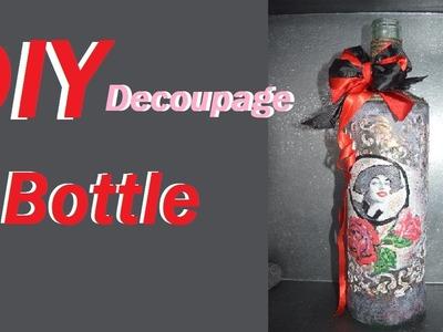 Diy Decoupage on Glass Bottle | Using stencil