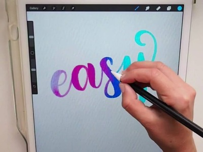 Easy digital watercolor calligraphy  in procreate