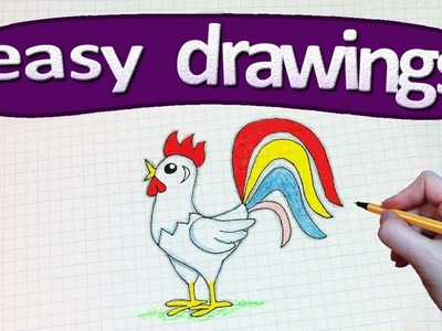 Easy drawings #239  How to draw a chicken.  a symbol of 2017