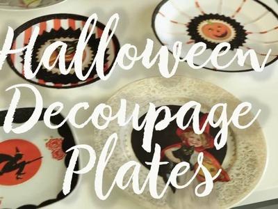 Halloween Decoupage Plates