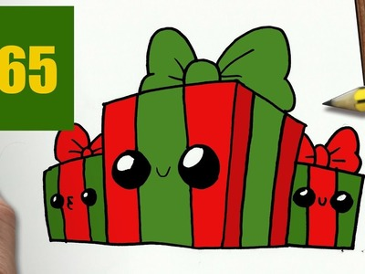 how to draw a christmas gift kawaii easy step by step
