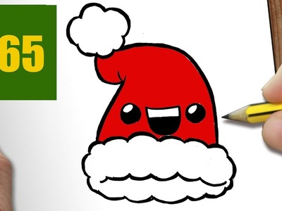 HOW TO DRAW A CHRISTMAS HAT CUTE, Easy step by step drawing lessons for kids
