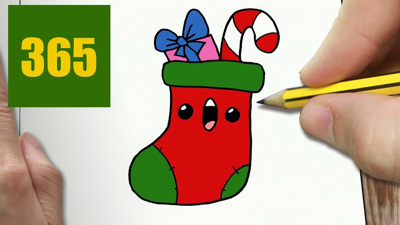 HOW TO DRAW A CHRISTMAS SOCK CUTE, Easy step by step drawing lessons for kids