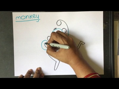 How to draw a Monkey (Easy drawing for Kids using the word)