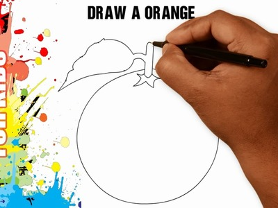 How to draw an orange EASY and SIMPLE for kids in 50s