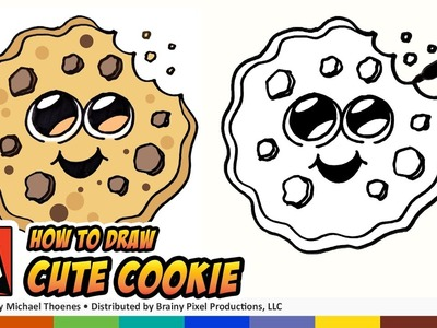 How to Draw Cute Cartoon Cookie Emoji - An Easy Cute Cookie to Draw!