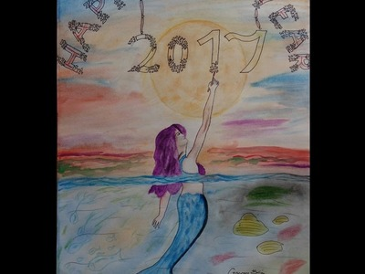 How to draw happy new year watercolor painting. Easy but beautiful.