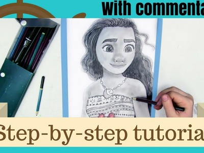 HOW TO DRAW MOANA - Easy step-by-step with commentary