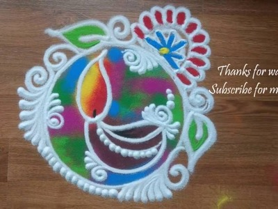 Quick and easy Colourful diya  Rangoli design for Diwali