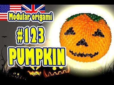 3D MODULAR ORIGAMI #123 PUMPKIN. Halloween. Jack o'lantern