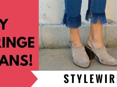 DIY Fringe Jeans (STYLEWIRE)
