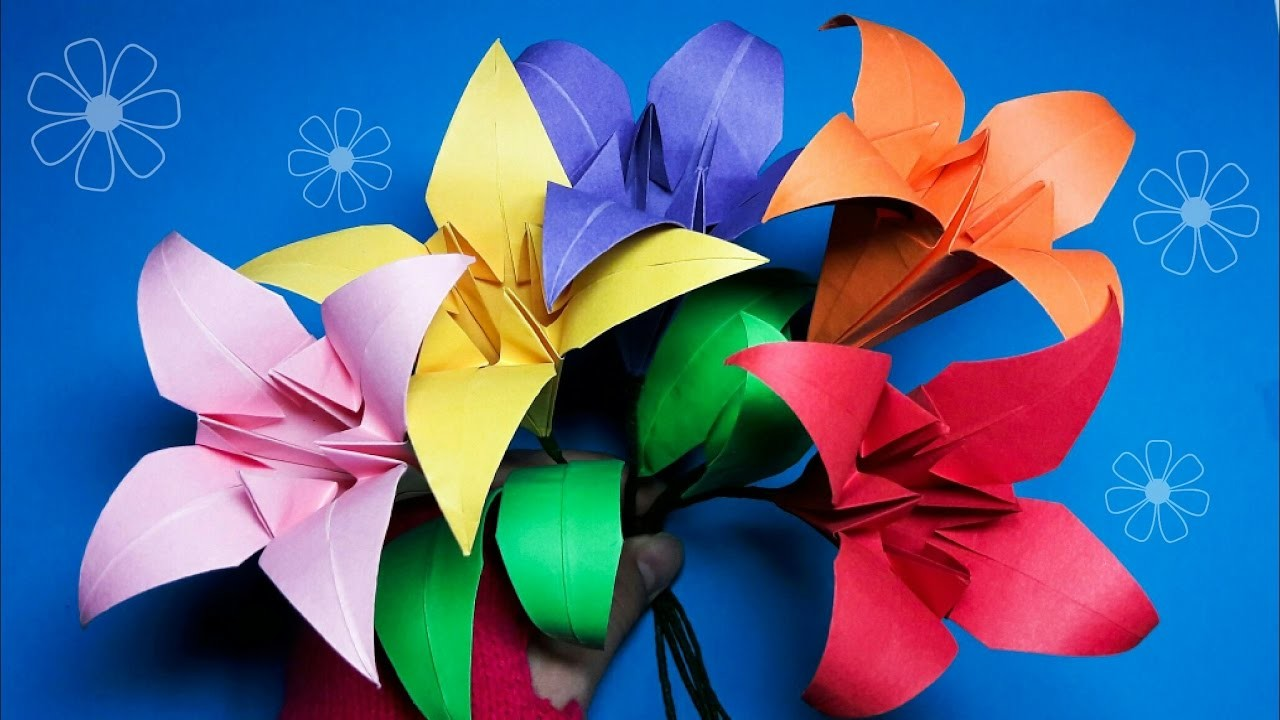 Origami 3D Lily flower and Leaf Easy to fold easy to follow step by step HD tutorial