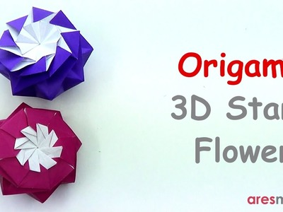 Origami Eight Pointed 3D Star - Flower (intermediate - single sheet)