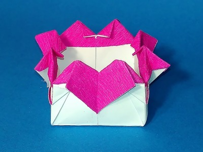 Origami gift box with hearts. Ideas for Valentine's day