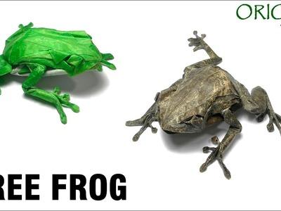 Origami Tree frog tutorial (Satoshi Kamiya) 折り紙  アマガエル  оригами учебник  Древесная лягушка