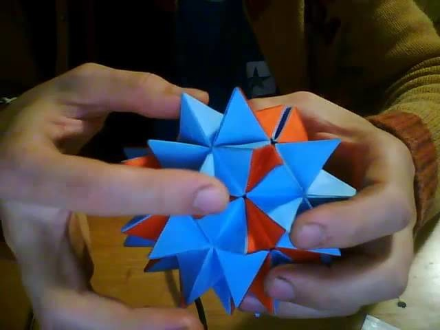 Transforming Origami Spike Ball Revealed Flower Or Pop Up Star