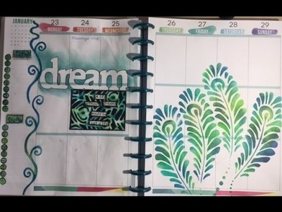 Dylusions Paints, Distress Ink and Stencils- Happy Planner Meets Mixed Media: HPMMM#5