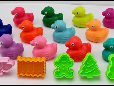 Learn Colors Play Doh Ducks Elmo Big Bird Animals Christmas Cookie Cutters Fun and Creative for Kids
