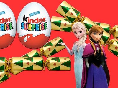 Christmas Frozen Elsa Chocolate Surprise Eggs! Kinder Surprise Christmas Crackers Unboxing