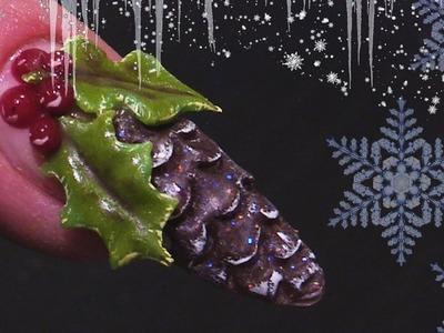 Christmas Pine Cone - 3D Acrylic Nail Art - Step By Step Nail Tutorial