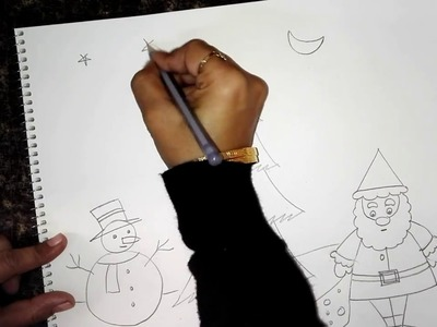 Easy Christmas Drawing for Kids- Santa Claus & Snowman
