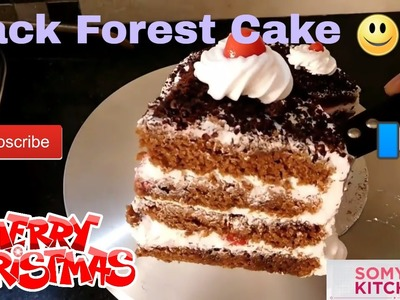 (ENGLISH) BLACKFOREST CAKE FOR BEGINNERS CHRISTMAS RECIPE BY SOMYA'S KITCHEN