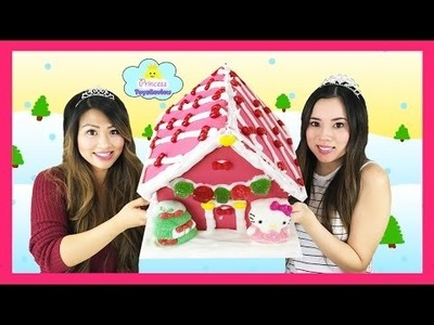 HELLO KITTY Candy Pink Gingerbread Cookie House Frosting Gummy Christmas kids Princess Toysreview